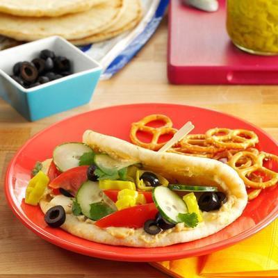 würziges vegetarisches Fladenbrot-Sandwich