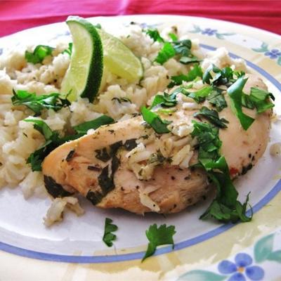 Slow Cooker Limetten Huhn mit Reis