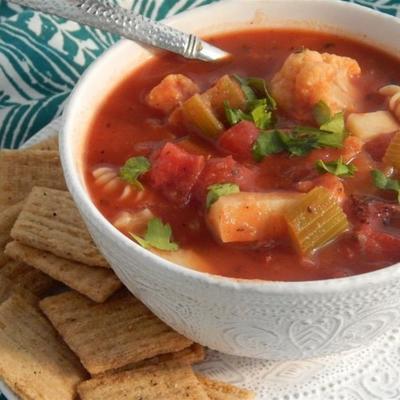 herzhafte Gemüse- und Makkaroni-Suppe