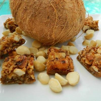 Hawaiianische Macadamia-Kokos-Quadrate