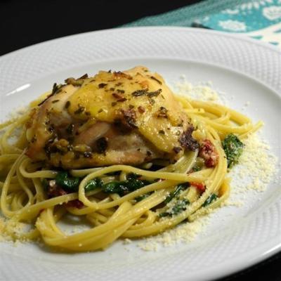 Ofen Huhn und Linguini