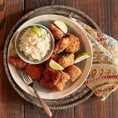 Jerk Chicken Nuggets mit Kalk-Kokos-Reis