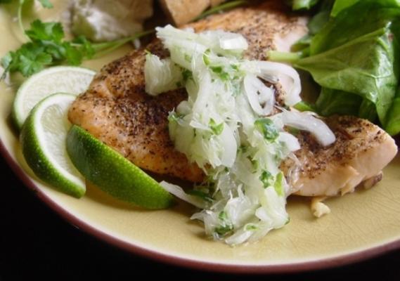 gebratener Lachs mit Limettensalsa