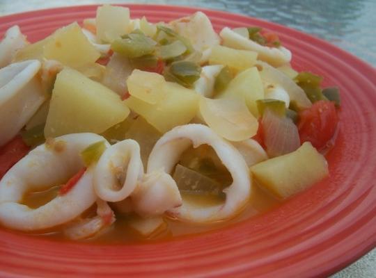 Kartoffel-Baby-Tintenfisch-Eintopf