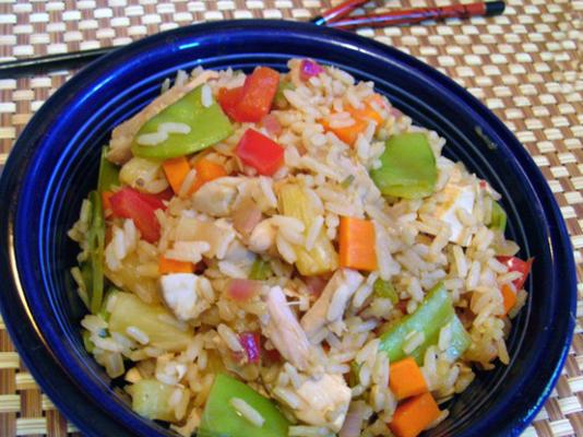 süßer und würziger Hühnchen gebratener Reis