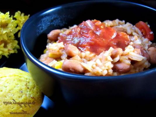 Tex-Mex-Reis und Pilaw mit zwei Bohnen