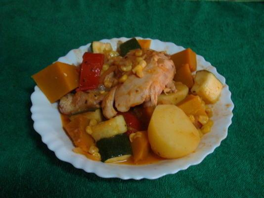 Huhn, Kürbis und Mais Eintopf