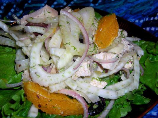 hühnersalat mit fenchel, orange und oliven (ww core)