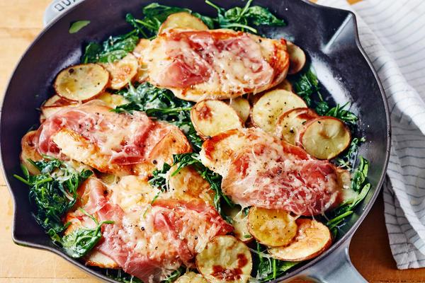 Hähnchen-Saltimbocca mit Spinat und Kartoffeln